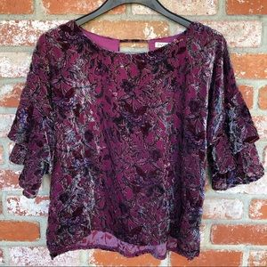 Velour floral blouse with tiered ruffle sleeves